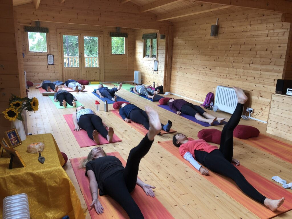 A yoga class at the Lotus Sanctuary